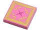 Part No: 3068bpb0898  Name: Tile 2 x 2 with Groove with Gold and Magenta Oriental Cushion Pattern