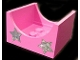 Part No: 4461pb02  Name: Container, Box 4 x 4 x 2 Bottom with Semicircle Cutout Ends with 2 Iridescent Silver Stars Pattern (Stickers) - Set 5944