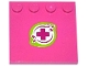 Part No: 6179pb077  Name: Tile, Modified 4 x 4 with Studs on Edge with Magenta Cross and Leaves in Lime Border Pattern (Sticker) - Set 41059