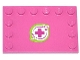 Part No: 6180pb073  Name: Tile, Modified 4 x 6 with Studs on Edges with Magenta Cross and Leaves in Lime Border Pattern (Sticker) - Set 41033