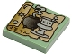 Part No: 3068bpb0014  Name: Tile 2 x 2 with HP Tan Scroll, Black Cauldron and Silver Mortar and Pestle Pattern
