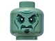 Part No: 3626cpb1687  Name: Minifig, Head Alien Ghost Black Eyebrows, Cheek Lines and Sunken Eyes Pattern - Stud Recessed