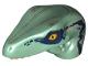 Part No: 98065pb08  Name: Dino Head Raptor with Pin Hole, Tan Teeth and Dark Blue Stripes and  Dark Tan Markings Pattern