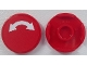 Part No: 14769pb009  Name: Tile, Round 2 x 2 with Bottom Stud Holder with White Curved Arrow Double on Red Background Pattern (Sticker) - Set 60052