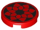 Part No: 14769pb126  Name: Tile, Round 2 x 2 with Bottom Stud Holder With Black Floral Outline Pattern