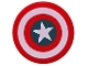 Part No: 14769pb173  Name: Tile, Round 2 x 2 with Bottom Stud Holder with Captain America Star Pattern (76076)
