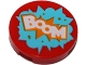 Part No: 14769pb176  Name: Tile, Round 2 x 2 with Bottom Stud Holder with 'BOOM' in Medium Azure Starburst Explosion Pattern