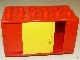 Part No: 2029pb01  Name: Duplo Vehicle Container 6 x 3 with Yellow Sliding Door and Two Round Yellow Arrows Pattern