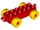 Lot ID: 51763811  Part No: 2312c01  Name: Duplo Car Base 2 x 6 with Yellow Wheels and Open Hitch End
