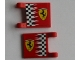 Part No: 2335pb014  Name: Flag 2 x 2 Square with Ferrari Logo and Checkered Pattern on Both Sides (Stickers)