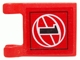Part No: 2335pb048  Name: Flag 2 x 2 Square with Black Number 1 on Red Background with White Basketball Pattern (Sticker) - Set 3432