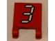 Part No: 2335pb104  Name: Flag 2 x 2 Square with White Number 3 with Black Outline on Red Background Pattern (Sticker) - Set 3569