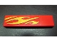 Part No: 2431pb124R  Name: Tile 1 x 4 with Yellow Flames Pattern Model Right Front (Sticker) - Set 8667