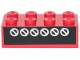 Part No: 3001pb028  Name: Brick 2 x 4 with 6 White Circles with Diagonals on Black Pattern (Sticker) - Set 6382