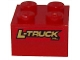 Part No: 3003pb033  Name: Brick 2 x 2 with 'L-TRUCK inc.' Pattern on Both Sides (Stickers) - Set 8147