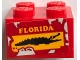 Part No: 3003pb101  Name: Brick 2 x 2 with Yellow 'FLORIDA' and Black Crocodile on Red Background Pattern (Sticker) - Set 70907