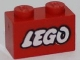 Part No: 3004p50  Name: Brick 1 x 2 with Lego Logo Old Style White with Black Outline Pattern