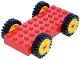 Part No: 30076c01  Name: Brick, Modified 4 x 10 with 4 Pins with Yellow Wheels Freestyle with Technic Pin Hole and Black Tires 24mm D. x 8mm Offset Tread (30076 / 6248 / 3483)
