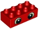 Part No: 3011pb052  Name: Duplo, Brick 2 x 4 with Lime Eyes Pattern