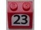 Part No: 3039pb120  Name: Slope 45 2 x 2 with Black '23' on White Background Pattern (Sticker) - Set 75876