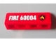 Part No: 30413pb033R  Name: Panel 1 x 4 x 1 with Black and Yellow Fire Logo Badge and 'FIRE 60004' Pattern Model Right Side (Sticker) - Set 60004