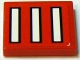 Part No: 3068bpb0066  Name: Tile 2 x 2 with 3 White Bars with Black Outline on Red Pattern (Sticker) - Set 2556