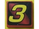 Part No: 3068bpb0123  Name: Tile 2 x 2 with Groove with Number  3 Yellow on Red and Black Background Pattern (Sticker) - Set 8219
