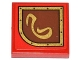 Part No: 3068bpb0794L  Name: Tile 2 x 2 with Gold Swirl on Brown Left Rounded Background Pattern (Sticker) - Set 79108