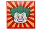Part No: 3068bpb0815  Name: Tile 2 x 2 with Joker Face on Red and Yellow Striped Background Pattern