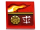 Part No: 3068bpb0997L  Name: Tile 2 x 2 with Flame, Filler Cap and Asian Character Pattern Model Left Side (Sticker) - Set 70600