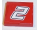 Part No: 3068bpb1066  Name: Tile 2 x 2 with Number 2 White with Black Outline on Red Background Pattern (Sticker) - Set 8168