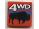 Part No: 3068bpx25  Name: Tile 2 x 2 with White '4WD' and Black Bison/Buffalo Pattern