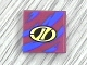 Part No: 3068pb38  Name: Tile 2 x 2 with Yellow Stylized 'LT' on Black Oval Racing Logo over Blue Streaks Pattern (Sticker) - Set 8244