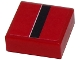 Part No: 3070bpb084  Name: Tile 1 x 1 with Black Stripe with White Edge on Red Background Pattern (Sticker) - Set 8147