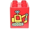 Part No: 31110pb132  Name: Duplo, Brick 2 x 2 x 2 with Yellow and Medium Azure Toy Excavator Pattern (10845)