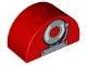 Part No: 31213pb025  Name: Duplo, Brick 2 x 4 x 2 Curved Top with Fire Alarm Bell Pattern