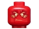 Part No: 3626cpb1447  Name: Minifigure, Head Gold Eyebrows, Mouth and Eyes with Dark Red and Gold Flames Pattern (Kai) - Hollow Stud
