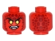 Part No: 3626cpb1511  Name: Minifigure, Head Alien with Black Thin Eyebrows, Yellow Eyes, Dark Red Scales, Fangs Pattern - Hollow Stud