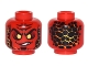 Part No: 3626cpb1640  Name: Minifigure, Head Alien with Black Eyebrows, Yellow Eyes, Orange Scales on Front and Back Pattern - Hollow Stud
