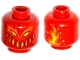 Part No: 3626cpb1645  Name: Minifig, Head Alien Dark Red, Yellow and Orange Eyes, Wide Mouth, Dark Red Spots and Flames on Back Pattern - Stud Recessed