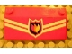 Part No: 3939pb09  Name: Slope 33 3 x 6 with White Stripes and Fire Logo Badge Pattern (Sticker) - Set 7906