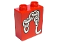 Part No: 4066pb164  Name: Duplo, Brick 1 x 2 x 2 with Chains and Hook Pattern