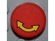 Part No: 4150pb085  Name: Tile, Round 2 x 2 with Black Outlined Yellow Curved Arrow Double on Red Background Pattern (Sticker) - Set 4645