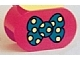 Part No: 4198pb22  Name: Duplo, Brick 2 x 4 x 2 Rounded Ends with Blue Bow Tie with Yellow Spots Pattern