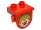 Part No: 42236pb03  Name: Duplo, Plate 1 x 2 with Overhang with Clown Face Pattern