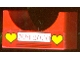 Part No: 4461pb01  Name: Container, Box 4 x 4 x 2 Bottom with Semicircle Cutout Ends with Red 'MM 2000' on White Rectangle and 2 Yellow Hearts Pattern (Sticker) - Set 4165