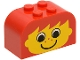 Part No: 4744px3  Name: Brick, Modified 2 x 4 x 2 Double Curved Top with Yellow Face, Freckles and Ears Pattern