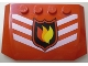 Part No: 52031pb005  Name: Wedge 4 x 6 x 2/3 Triple Curved with Fire Logo Badge and 3 White Chevrons Pattern (Sticker) - Set 7239
