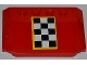 Part No: 52031pb038  Name: Wedge 4 x 6 x 2/3 Triple Curved with Checkered Flag with Yellow Outline Pattern (Sticker) - Set 4643