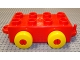 Part No: 54600c01  Name: Quatro Brick 2 x 4 with Hitches and 4 Yellow Wheels
